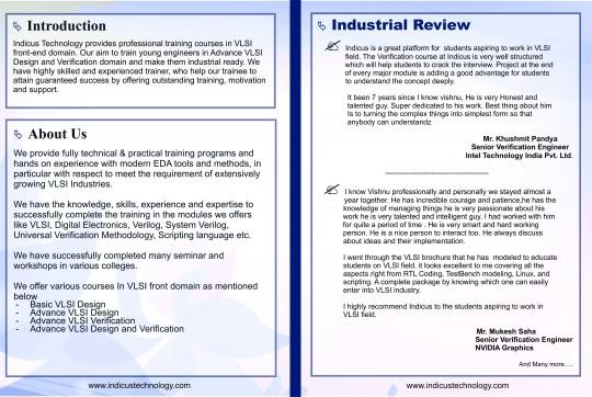Vlsi Training Embedded Training Verilog Training Indicus Technology